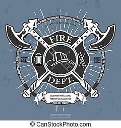 helm, vuur, assen, t-shirt, vector, dept., label., gekruiste, graphics.