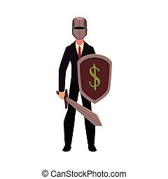 helm, zwaard, ridder, metaal, vasthouden, zakenman, schild