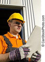 helma, průmyslový, brýle proti slunci, dělník, přední část jídelna