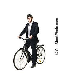 helmed, bicicleta, hombre