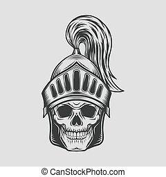 helmet., 矢量, 骑士, 战士, 头骨, 描述, 头