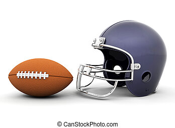 Helmet and football - 3D render of a football and helmet