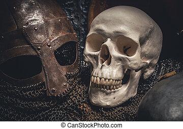 Helmet and skull - Picture of helmet and skull on chain...