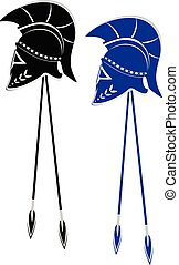 Helmet and spear - Spartan or Trojan helmet and spear