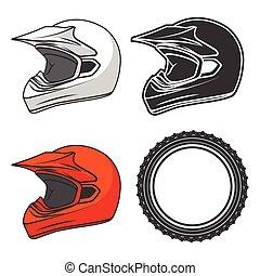 Helmet dirt motorbike ktm vector illustration