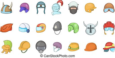 Helmet icon set, cartoon style - Helmet icon set. Cartoon...