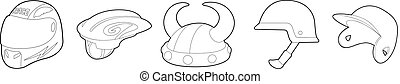 Helmet icon set, outline style