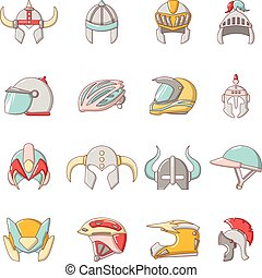Helmet icons set, cartoon style