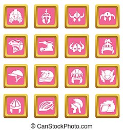 Helmet icons set pink square