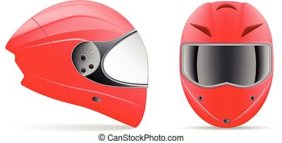 helmet., illustration., vector, fondo., calidad, vista, lado, frente, aislado, blanco, alto, rojo, motocicleta