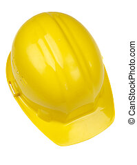 helmet - isolated yellow hard-hat on white background, focus...