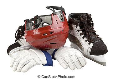 Helmet, leggings, skates