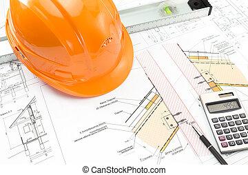 Helmet, level, calculator and blueprints