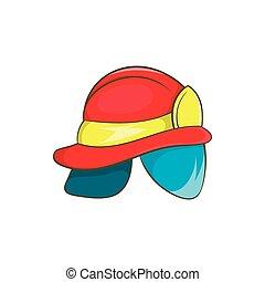 Helmet of firefighter icon, cartoon style