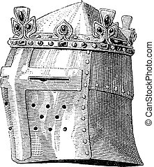 Helmet or galea worn by Louis IX in the battle of the Massoure vintage engraving