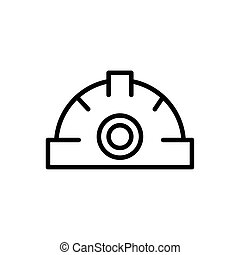 helmet protection tool architecture icon line style