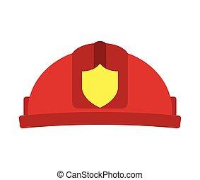 helmet red firefighter icon