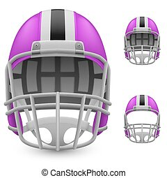 Helmet - Set of magenta football helmets on a white...