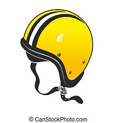 helmet - classic, yellow motorcycle helmet from the sixties