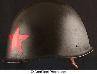 helmet  - A helmet from the Second World War with a red star