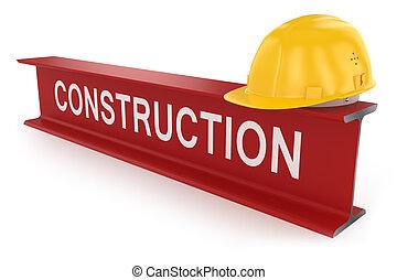 helmet., trave, concept., costruzione, metallo