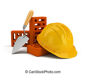 helmet with bricks and trowel. 3d image. Isolated white ...