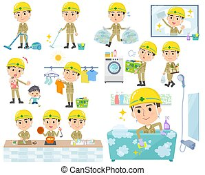 A set of working man related to housekeeping such as cleaning and laundry. There are various actions such as cooking and child rearing. It's vector art so it's easy to edit.