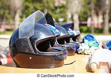 helmets., kart, racing.
