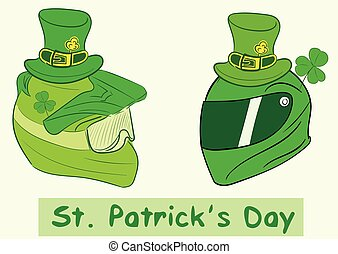 Helmets of a St. Patrick's Day