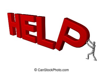 Help - 3D render of a mannequin holding up a help sign