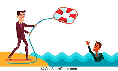 Help A Colleague. Businessman Throws Lifebuoy To Indian Colleague Vector Flat Cartoon Illustration