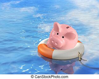 Conceptual image - help at financial crisis