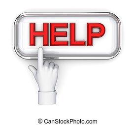 help., botão empurra, mão