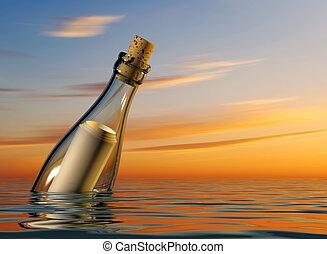 Help - Bottle with blank paper inside floating on sea - 3d...