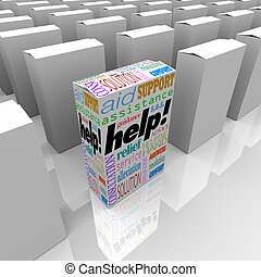 Help Box of Customer Assistance and Support on Store Shelf