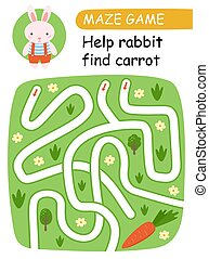 Help bunny find carrots. Maze game for kids. Vector