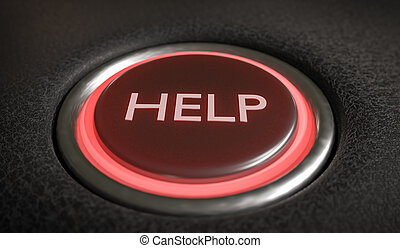 Help button for emergency assistance. 3D rendered illustration.