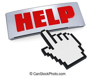 Help button pressed by hand pointer
