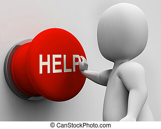 Help Button Shows Support Assistance And Aid - Help Button ...