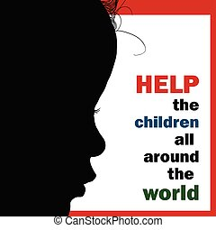 help children around the world silhouette illustration