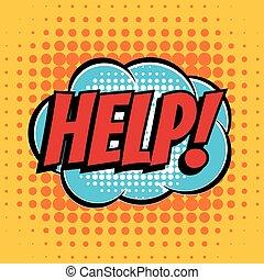 Help comic book bubble text retro style