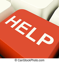 Help Computer Key Showing Assistance Support And Answers -...