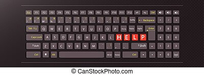 help concept. illustration keyboard with