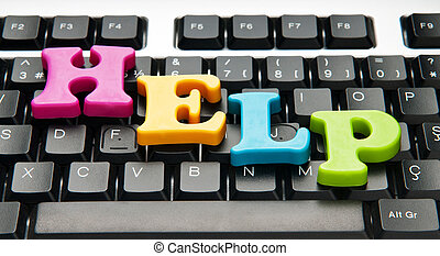HELP concept with letters on keyboard stock photos Search