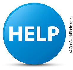 Help cyan blue round button