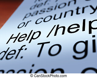 Help Definition Closeup Showing Support And Service