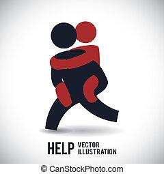 help design  - help graphic design , vector illustration