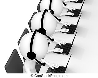 Help Desk. 3D little human character in a Call Center. White Background.