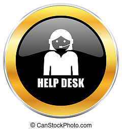 Help desk black web icon with golden border isolated on white background. Round glossy button.