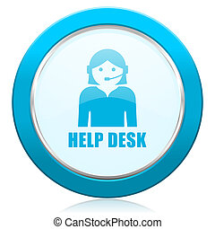 Help desk blue chrome silver metallic border web icon. Round button for internet and mobile phone application designers.